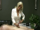 Lady boss handjobs and teases stud